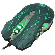 Jianshengyizu JS-X9 10-Key 500-1200-2400-3200DPI 4-Mode LED USB Wired Gaming Mouse (Green) (Intl)