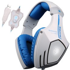 JTS A6.7.1 USB Pro PC Gaming Headset Surround Sound Stereo Over-the-Ear Headband Headphones With High Sensitivity Mic Bass Vibration Noise-Canceling Volume Control Wolf Logo Flashing LED Lightings White