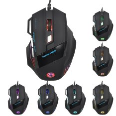 JWFY USB Wired LED Optical Gaming Mouse 5500DPI Resolution With Seven Buttons 1.5m Cable