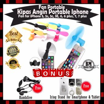 Kipas Angin Mini Portable Lightning Fan for iPhone 5, 5s, 5c, SE,6, 6 plus, 7, 7 plus - Gratis Handsfree & Iring Stand Hp