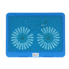 KKMOON 2 Fans Silent Thin Computer Cooling Frame USB Cooler Radiator with Blue LED Light For 12in To 15in Laptop Notebook