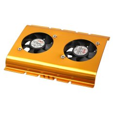 KUNPENG 3.5 Inch Dual Cooling Fan Hard Disk Driver HDD Cooler For PC SATAIDE