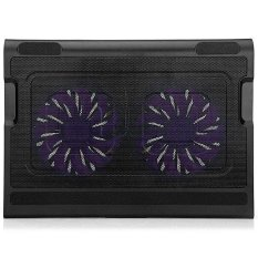 KX-06 USB 2.0 Two Fans Unique Integrated Skid Design Notebook Cooling Pad For 14/15.6/17 Inch Laptops (BLACK) (Intl)