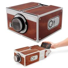 Lasido Projector Portable Smartphone Projektor Cardboard 2.0 for Mobile Phone Movie Presentasi - Coklat