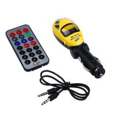 LCD Wireless FM Transmitter Car Kit MP3 Player Support USB SD MMC Slot 3-piece Set (Yellow)