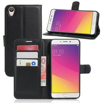 Leather Wallet Flip Cover Case For Oppo F1 Plus (Black) - intl