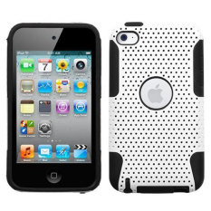 Leegoal White Black Armor Soft Silicone Hybrid Hard Mesh Case Cover for iPod Touch 4