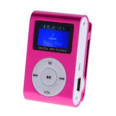 Linemart Mini Clip Metal Mp3 Player with LCD Screen + Micro / TF Slot For Mini SD Card Mp3 with Earphone (Pink) (Intl)