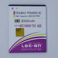LOG-ON Battery For Mito Fantasy Text A500- 3000mAh Double Power & IC - Garansi 6 Bulan
