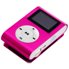 LoveSport USB Mini Clip MP3 Player LCD Screen Support 32GB Micro SD TF Card FM Radio (Pink)
