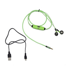 Luminous In-Ear Earphones Flashing Headphone Glow-in-dark LED Dynamic Earbud Headset with Subwoofer Mic Support Most Of Universal Phones 3.5mm Audio Jack Devices (Green) (Intl)