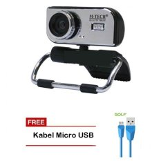 M-Tech Web Cam WB 100 WebCam Clip USB 2.0 5 MP Built In Microphone - Silver + Golf Diamond Kabel Micro USB