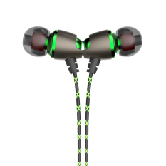 Magnetic In Ear Headphones 3.5mm Noise Isolation Headphones Stereo Bass Headphones Sport Running Handsfree With Micphone (Green) - Intl