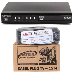 Matrix Receiver Burger MPEG 2 + Matrix Kabel F Connector Plug TV - 15 Meter
