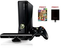 Microsoft Xbox 360 Slim - Hitam + Gratis 500GB Full Games + Kinect Hitam