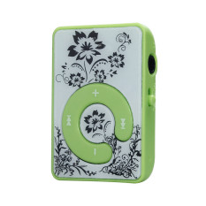 Mini Clip Flower Pattern MP3 Player Music Media Support Micro SD TF Card Green