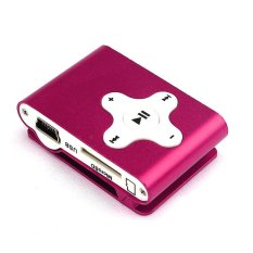 Mini Clip Metal USB MP3 Player Support Micro SD TF Card Music Media Hot Pink