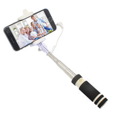 Mini Foldable Cable Wired Remote Control Selfie Shaft Shooting Shutter Monopod Extendable Handheld Stick (Black