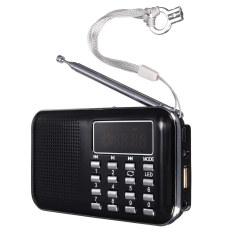 Mini Portable LED Digital FM Radio Speaker USB Micro SD TF Card MP3 Music Player Black (Intl)