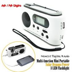 Mini Portable Radio Solar Dynamo Power AM / FM Scan Digital Radio With 3 LEDs Flashlight Phone Charge - Intl