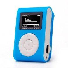 Mini USB Clip MP3 Player LCD Screen Support 32GB Micro SD TF Card (Blue)