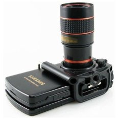 Mobile Phone Telescope Lens 8X Optical Zoom with Universal Clamp For Mobile Phone - Black Print