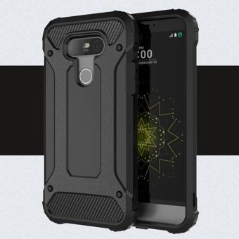 Moonmini Case for LG G5 Case Armor Combo Hard PC + Soft Silicon Back Case Cover - Black - intl