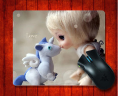 MousePad Cute Doll With Her Unicorn Photography Fine For Mouse Mat 240*200*3mm Gaming Mice Pad - Intl