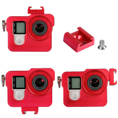 Neewer Metal Skeleton Thick Solid Protective Case + 37MM UV Filter + 37MM Snap-on Lens Cap For Gopro Hero 4 Camera (Red) - Intl