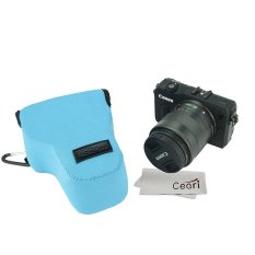 NEOPine Elastic Triangle Neoprene Camera Case For Canon EOS M With18-55mm Lens (Light Blue)