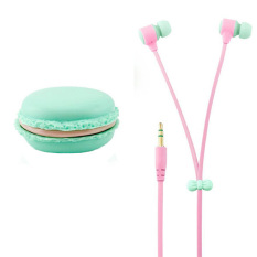 New Arriving Very Hot Fashion Colorful In Ear Headphone Headset Earphone Macarons Bread Storage Box - Blue - Intl