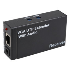 New Dual Video VGA UTP 1x1 Splitter Extender With Audio Up Cat5/6 To 300M