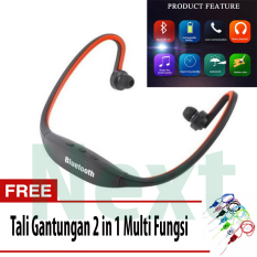 Next Sport S9 Headset Bluetooth 4.0 Behind-the-Neck USB Sports Stereo Wireless Headphone + Tali Gantungan 2 In 1 - Orange