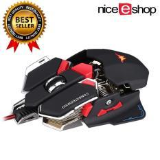 niceEshop Game kabel mouse diprogram 10 tombol Combaterwing 4800 dpi kabel optik Profesional Gaming Mouse, Hitam
