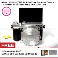 Nikon 1 J5 (Silver) WiFi 4K VR 10-30mm f/3.5-5.6 PD-ZOOM Lens + Memory V-Gen Turbo 8GB + Screen Guard LCD