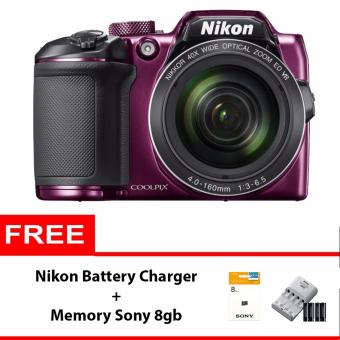 ... Nikon Coolpix B500 16 MP Purple Free Nikon Coolpix BatteryCharger Memory Sony 8gb