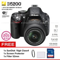 NIKON D5200 (BLACK) + AF-S DX NIKKOR 18-55mm f/3.5-5.6G VR II Kit Lens 24.1 MP 5 FPS Full HD + Filter 52mm + SanDisk 16Gb + Screen Protector