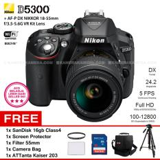 NIKON D5300 (BLACK) + AF-P DX NIKKOR 18-55mm f/3.5-5.6G VR Kit Lens WiFi 24.2MP 5FPS Full HD + Filter 55mm + SanDisk 16Gb + Screen Protector + Camera Bag + ATTanta Kaiser 203