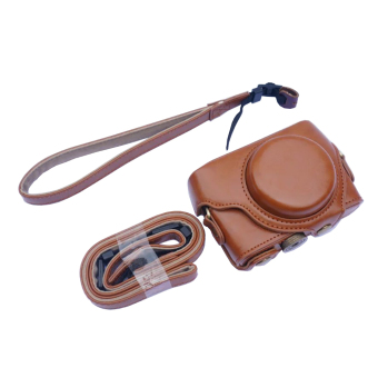 OEM Camera Cover For Sony RX100 Removable PU Leather With Tripod Screw Clip Belt Loop Hand / Shoulder Strap Brown Color