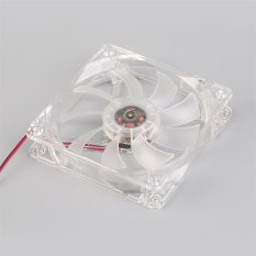 OH 12cm PC Computer Clear Case Quad 4 LED Light 9-Blade CPU Cooling Fan 12V (Red)