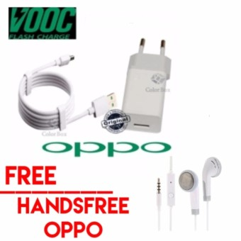 OPPO VOOC Original Travel Charger 5V - 2A Kabel Micro USB Data Cable - Putih Gratis