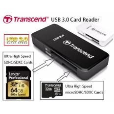 Original 100% Transcend Card Reader USB 3.0 90mb/s RDF 5 for Micro SD/ Micro SDHC / Micro SDXC and SD Card / SDHC/ SDXC Free Antivirus MC Afee (Black)