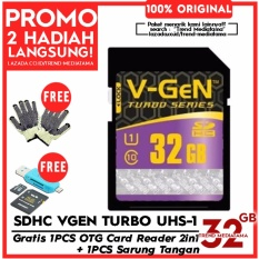 Original V-Gen SD Card 32GB Class 10 Turbo Series Free OTG Card Reader Micro SD / SDHC + Sarung Tangan Anti Panas