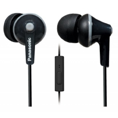 Panasonic ErgoFit Best In Class In-Ear Earbuds Headphones With Mic / Controller RP-TCM125-K (Black) IPhone / Android Compatible / Noise Isolating Headphones