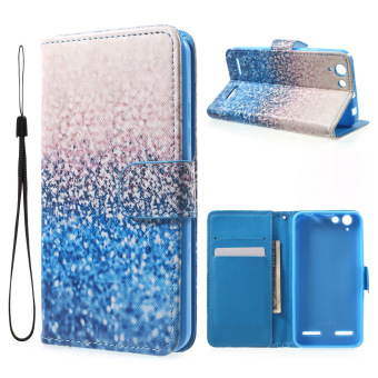 Patterned Leather Wallet Stand Phone Shell for Lenovo Vibe K5 / Vibe K5 Plus - Sequins - intl
