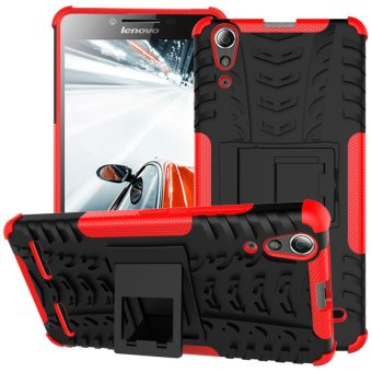 PC TPU Hybrid Case for Lenovo A6000/A6000 Plus with Kickstand (Red)