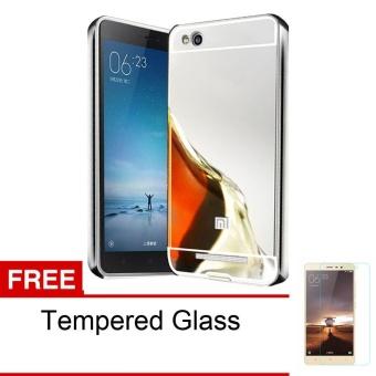 Peonia Xiaomi Redmi 3 Mirror Backcase with Metal Aluminium Bumper - Silver + Gratis Tempered Glass