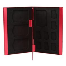 Portable Deck Aluminium Alloy Memory Cards Storage Box For 8TF + 4SD (Red) - Intl