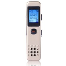 Portable Rechargeable Mini 8GB Digital Audio Voice Recorder Dictaphone Support MP3 Player And U Dish Function Light Golden