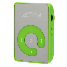 Portable Rechargeable MP3 Player W / Clip / TF / Earphones - Green + Silver (Intl)